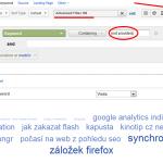 Tag cloud z klíčových slov v Google Analytics