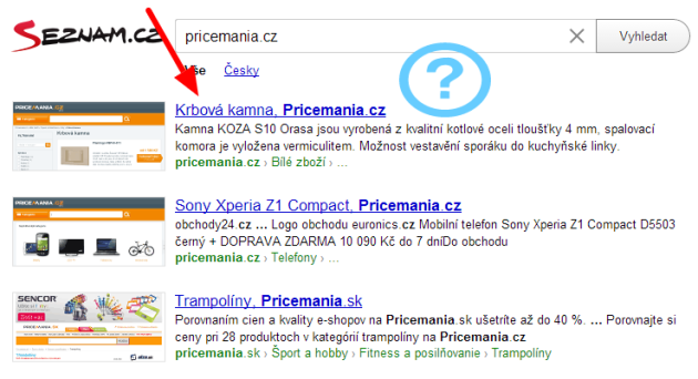 Pricemania.cz na Seznam.cz
