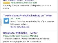 Vyhledávání hashtagu #mshokej