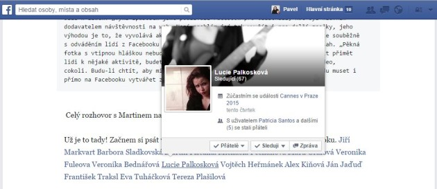 Hover efekt intenrího dokazu v Facebook poznámce