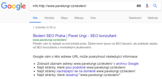 Screenshot testu indexace URL na Google