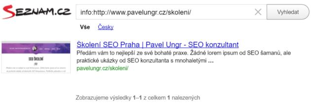Screenshot testu indexace URL na Seznam.cz